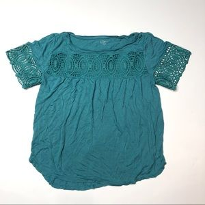 Loft green short sleeve lace detail top